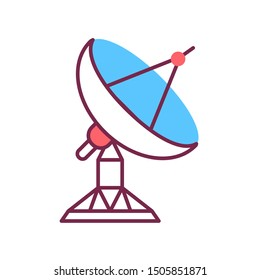 Radar satellite dish color line icon.   Wireless communication equipment. Antenna transmits and receives a signal from space. Sign for web page, mobile app, banner, social media. Editable stroke.