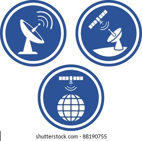 Radar satellite dish - Vector icons