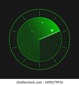 Radar screen in black background. Vector EPS10 illustration.