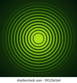 Radar screen concentric circle elements. Vector illustration for sound wave. Black and green color ring. Circle spin target. Radio station signal. Center minimal radial ripple line outline abstraction