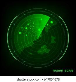 Radar screen with futuristic user interface and digital world map Vector illustration.
