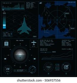 Radar screen. Operator control panel. Hud infographic interface screen monitor. UI design game template. Aviation technology concept