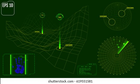 Radar screen with planet, map, targets and futuristic user interface HUD. Green infographic elements. Vector illustration.