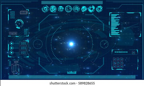 Radar screen. Vector illustration for your design. Technology background. Futuristic user interface. HUD.
