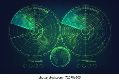 radar screen and world map in futuristic style