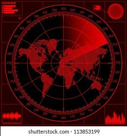 Radar screen with world map. Vector EPS10.