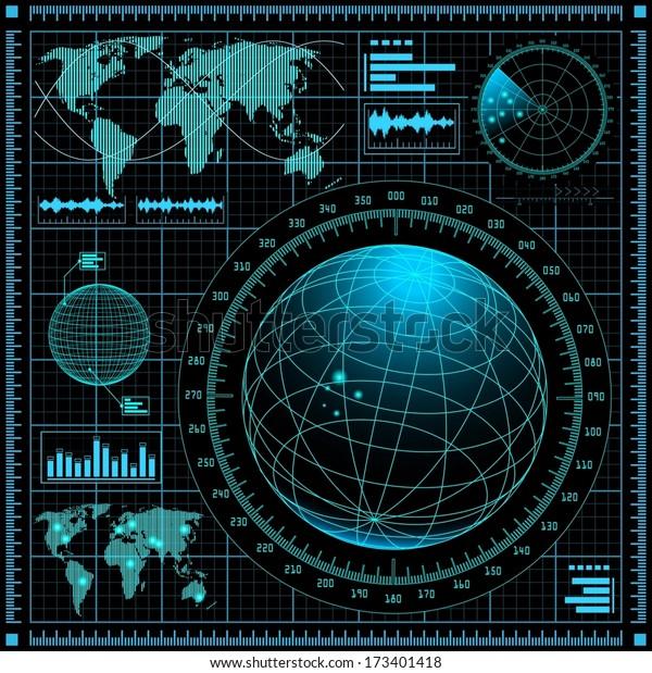 Radar Screen World Map Vector Eps10 Stock Vector Royalty Free