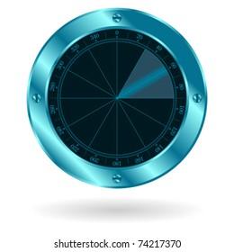 Radar sonar screen isolated over white background