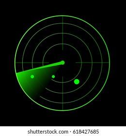 Radar vector illustration. Military search system blip illustration