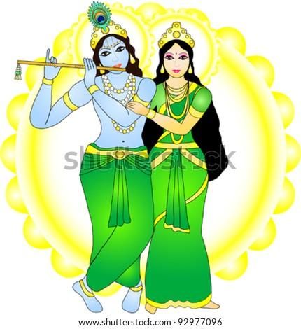radha krishna vector image stock vector royalty free 92977096