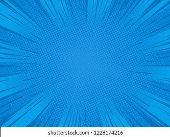 Radial blue speed lines for comic books. Explosion background.Vector illustration.