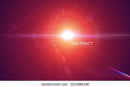 Radial bursting rays. Vector absrtact illustration. Background with explosion. Shiny iridescent light beams. Solar or starlight emission