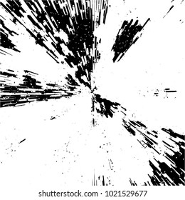 Radial Concentric Particles From Center To Edges. Black And White Vector Grunge Overlay Background. Explosion Zoom Effect Texture. Abstract Pattern Brushstroke Sample. Flying Fragments