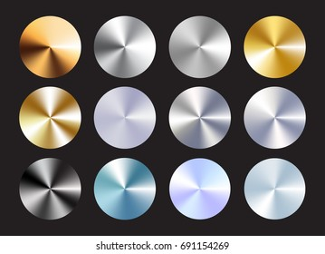 Radial conical metallic gradient set. Immitation of gold, bronze, silver, chrome,steel. Vector elements for your backround. Eps 10.