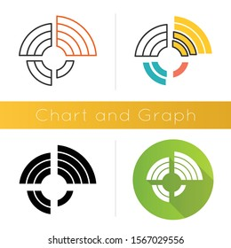 Radial diagram icon. Round chart, graph. Radar diagram. Multivariate data. Spider chart. Info value extend from central point. Flat design, linear and color styles. Isolated vector illustrations
