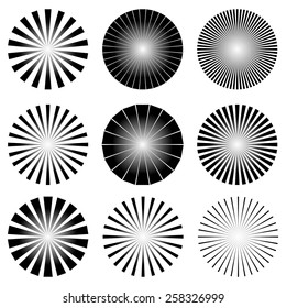 Radial Elements Set. Starburst or Sunburst Backgrounds. Ray, Beam Shapes