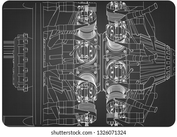 radial engine images, stock photos & vectors shutterstock jet engine diagram radial engine on a gray background drawing