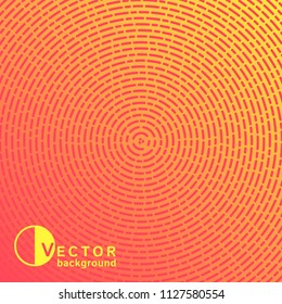 Radial gradient pink and yellow background, pattern. Concentric circles, rings texture made of dotted lines, trendy rounded stripes, dashes, dynamic shapes of different length. Square modern template.