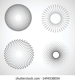 Radial halftone dots in Circle Form for comic books . fireworks Explosion background . Vector Illustration . Starburst