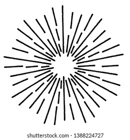 Radial Lines in Circle Form for comic books . Explosion background . Vector Illustration . Vintage round Logo . Handwritten Design element . Abstract Geometric shape . Sunburst .