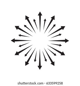 Radial lines element. Abstract radiating irregular lines