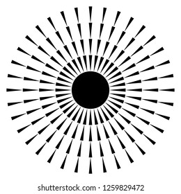 Radial lines, rays, beams circular pattern. Sunburst, starburst with concentric irregular lines. Vector illustration
