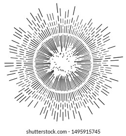 Radial, radiating beams, rays starburst, sunburst lines. Circular burst, firework, blast or explosion effect. Concentric, converging array sparkle effect. Irregular, dashed stripes