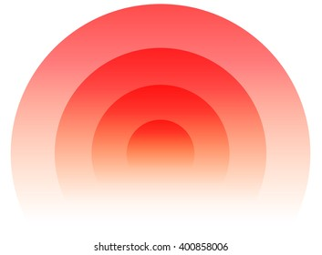 Radial, radiating circular element. Graphics for transmission, emission, radiation, spreading, expanding themes. (Circles fade to transparent with opacity mask.)