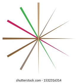 Radial, radiating lines, spokes. Circular rays, beams. Multicolor, colorful burst sparkle. Star burst, sun burst element. Concentric sparkle, gleam, twinkle design