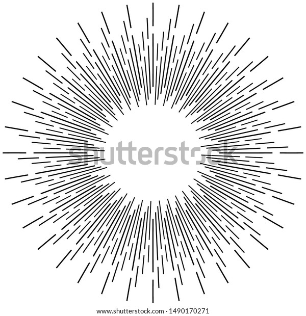 Radial ray, beam lines. Circular radiation stripes pattern. Gleam, sparkle effect. Glaze, flare design. Sunburst, starburst concentric lines as radiance, glitter illustration