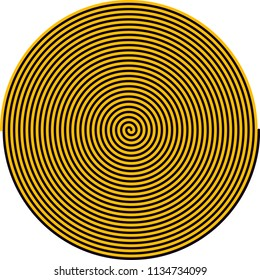 Radial rays, auger, twisted effect, spiral with swirl background Vector illustration. Use it as a hypnotic spiral screw, table, wall clock or anything else. Black and yellow