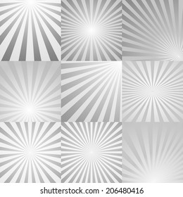 Radial rays background collection. Vector eps10.