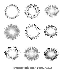 Radial speed Lines in Circle Form for comic books . fireworks Explosion background . Vector Illustration . Starburst  round Logo . Circular Design element . Abstract Geometric star rays . Sunburst .