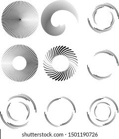Radial speed Lines in Circle Form for comic books . Explosion background . Vector Illustration .Technology round Logo . Circular Design element . Abstract Geometric shape .