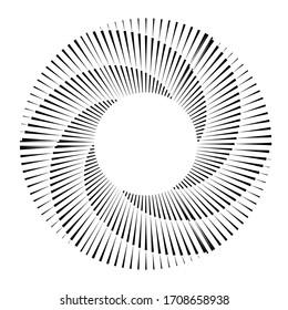 Radial speed Lines in Spiral Form for comic books . fireworks Explosion background . Vector Illustration . Starburst  round Logo . Circular Design element . Abstract Geometric star rays . Sunburst .