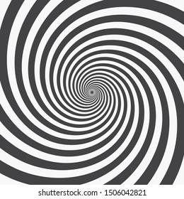 Radial Spiral Rays Background. Graphic Template. Monochrome Vector Illustration