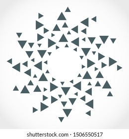 Radial triangles in circle form. Fireworks explosion background. Circular design element. Abstract geometric star rays. Design element for medical, treatment, cosmetic emblem