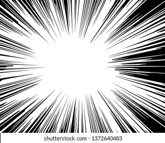 Radial velocity lines. The element of speed, superhero, comic book, bright flash, the explosion. Vector design element with overlay capability, isolated white background.