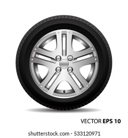 Radial wheel alloy with tire on white background vector illustration.