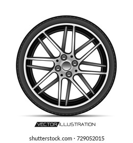 Radial wheel car alloy with tire on white background vector illustration.