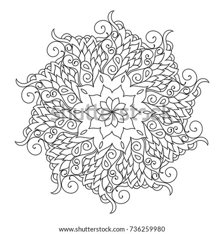 Radial Zentangle Mandala Adult Coloring Book Page Zendoodle Circular Black And White Outline Illustration Jpg 450x470