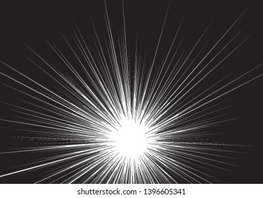 Radial zoom speed black line on white for comic background vector illustration.
