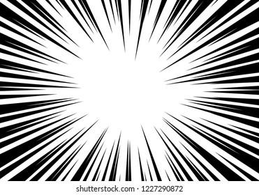 Radial zoom speed line black on white for comic background vector illustration.