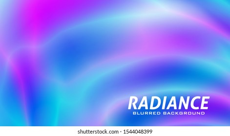 Radiance. Abstract blue, purple and turquoise blurred background with neon colors gradient. Beautiful vector graphic wallpaper