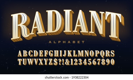 Radiant alphabet; a traditional serif capitals font with extravagant linear detailing in each letter