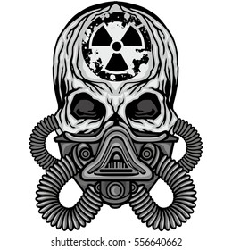 radiation coat of arms with skull and gas mask, grunge vintage design t shirts