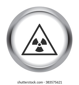 Radiation danger symbol simple icon  on round background