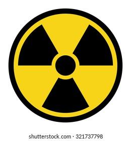 Radiation Hazard Sign. Symbol of radioactive threat alert. Black hazard emblem isolated in yellow circle on white background. Danger label. Warning icon. Stock Vector Illustration