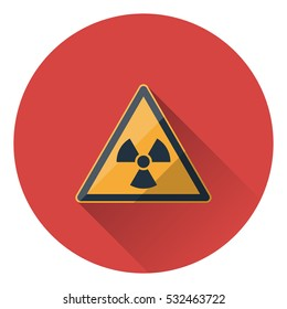 The radiation icon (symbol) with long shadow. Flat style.