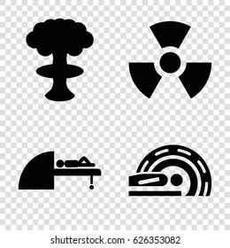 Radiation icons set. set of 4 radiation filled icons such as MRI, radiation
